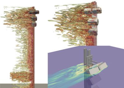 CFD contours for back wind up and back wind down cases