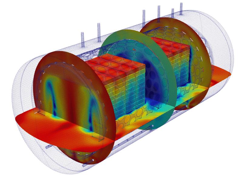 Temperature inside the equipment in a sterilization process simulation